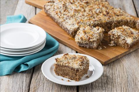 Oatmeal Spice Cake-with a Crunchy Coconut Topping