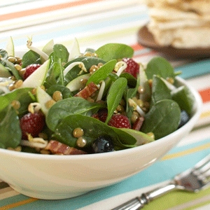 Apple Berry Lentil Spinach Salad
