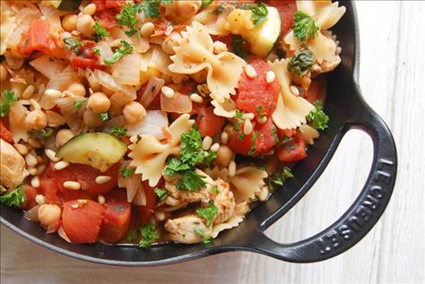 30 - Minute Chicken and Chickpea Skillet Pasta