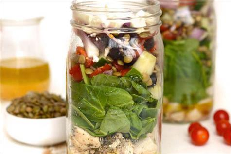 Mason Jar Mediterranean Chicken Salad