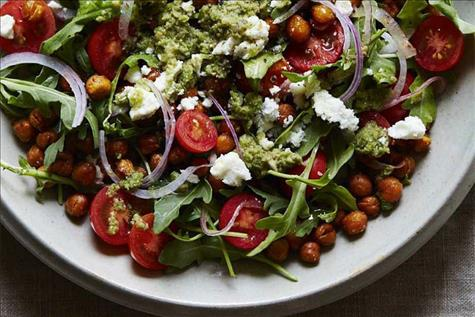 Roasted Chickpea Bowl with Feta, Arugula and Olive Tapenade