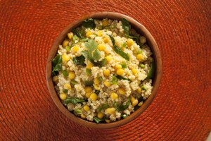Spiced Lemon Quinoa with Split Peas