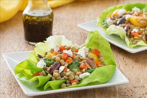 Vegetable Balsamic Lentil Salad in a Butter Lettuce Cup
