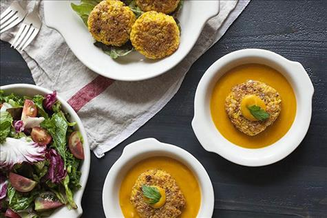 Yellow Split Pea Millet Cakes with Carrot-Miso Sauce